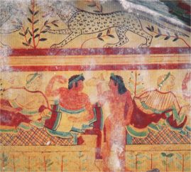 Etruscans. The scene of the feast in the decoration of the tomb