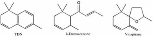 Молекулярные структуры трех основных соединений C13-норизопреноидов нашли в вине.