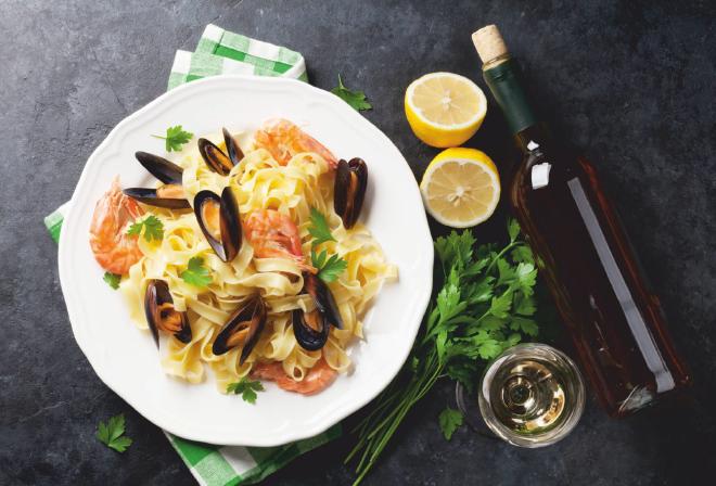 An Italian Romance: Wine and Pasta. Seafood Pasta