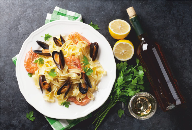 An Italian Romance: Wine and Pasta. Seafood Pasta