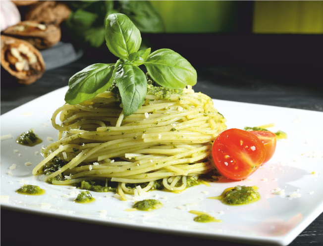 An Italian Romance: Wine and Pasta. Pesto